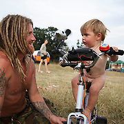 Climate Camp 2008.Pedal powered gaming with daddy