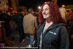 Moto-journalist Marjorie Kleiman, aka Shadow, at Daytona Bike Week. , FL., USA. March 8, 2014.  Photography ©2014 Michael Lichter.
