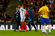 England Crystal Palace on loan from Chelsea Ruben Loftus-Cheek (10) gets injured during the International Friendly match between England and Brazil at Wembley Stadium, London, England on 14 November 2017. Photo by Simon Davies.