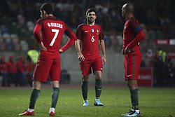 November 15, 2017 - Na - Leiria, 11/14/2017 - The National Soccer Team received tonight its United States counterpart at the Municipal Stadium of Leiria Dr. Magalhães Pessoa in preparation for the 2018 World Cup in Russia. Gonçalo Guedes, Ruben Neves, Joao Mario  (Credit Image: © Atlantico Press via ZUMA Wire)