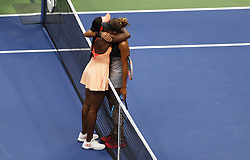 NEW YORK, Sept. 10, 2017  Sloane Stephens (L) of the United States hugs her compatriot Madison Keys after their women's singles final match at the 2017 US Open in New York, the United States, Sept. 9, 2017. Sloane Stephens won 2-0 to claim the title. (Credit Image: © Qin Lang/Xinhua via ZUMA Wire)
