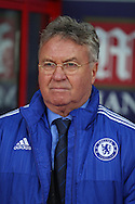 Guus Hiddink, the interim Chelsea manager looks on from the dugout before k/o. Barclays Premier League match, Crystal Palace v Chelsea at Selhurst Park in London on Sunday 3rd Jan 2016. pic by John Patrick Fletcher, Andrew Orchard sports photography.