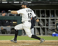 CHICAGO - APRIL 28:  Adam Eaton #12 of the Chicago White Sox bats against the Detroit Tigers on April 28, 2021 at Guaranteed Rate Field in Chicago, Illinois.  (Photo by Ron Vesely) Subject:  Adam Eaton