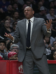 March 8, 2019 - Los Angeles, California, United States of America - Coach, Doc Rivers of the Los Angeles Clippers questions a call during their NBA game with the Oklahoma Thunder on Friday March 8, 2019 at the Staples Center in Los Angeles, California. Clippers defeat Thunder, 118-110.  JAVIER ROJAS/PI (Credit Image: © Prensa Internacional via ZUMA Wire)