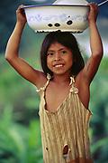 Ese'eja Indian Child<br />Heath River, BOLIVIA/PERU Border<br />Amazon Rain Forest.  South America