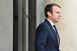 August 31, 2017 - Paris, France - French president Emmanuel Macron  waits for the arrival of Dutch Prime Minister at the Elysee presidential palace on August 31, 2017, in Paris. (Credit Image: © Julien Mattia/NurPhoto via ZUMA Press)