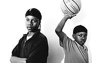"""(l-r)Thirteen-year-old Jalen Broussard(cq) and twelve year-old KeAndre """"The Mascot"""" Thompson(cq) are two of the young up start  ballers of Mac Gregor Park in Southeast Houston.(BILLY SMITH II/STAFF)"""