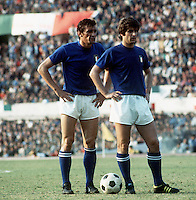 """International Friendly Matchs 1973 / <br /> Italy vs Brazil 2-0 ( Olympic Stadium - Roma , Italy )<br /> Luigi Riva """" Gigi Riva """" (L) and Gianni Rivera of Italy (R) ,<br />  on action during the friendly match"""