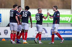 20MAR21 Falkirk's Callum Morrison (38) celebrates after scoring their second goal. Falkirk 2 v 0 Montrose, Scottish Football League Division One game played 20/3/2021 at The Falkirk Stadium.