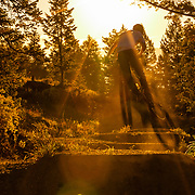 Malachi Artise creates his own bike shadow while grabbing air in a jump line in the Tetons on the Parallel Trail.