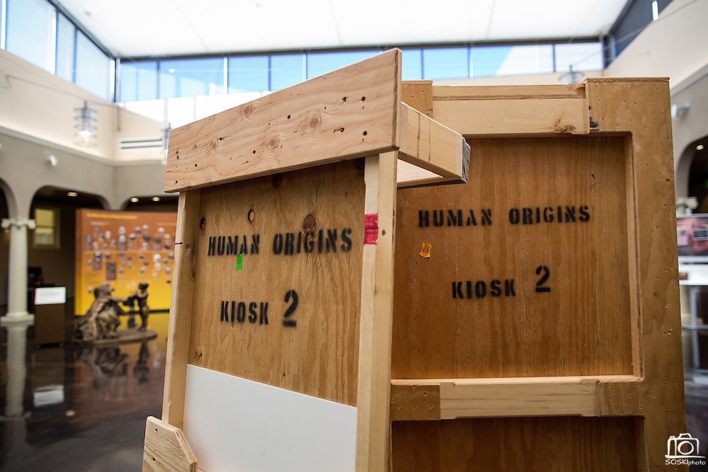 Crates sit disassembled during the set up of the Smithsonian Institution's traveling Exploring Human Origins exhibit at the Milpitas Library in Milpitas, California, on November 24, 2015. (Stan Olszewski/SOSKIphoto)
