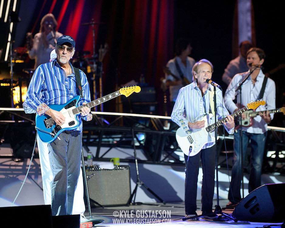 COLUMBIA, MD - June 15th, 2012 - David Marks (L) and Al Jardine (center) of The Beach Boys perform at Merriweather Post Pavilion as part of the band's 50th Anniversary Reunion Tour. This tour marks the first time chief songwriter Brian Wilson has done a full range of dates with the band since 1965. (Photo by Kyle Gustafson/For The Washington Post)