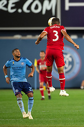 September 26, 2018 - Bronx, New York, US - Chicago Fire defender BRANDON VINCENT (3) heads the ball while New York City FC midfielder ISMAEL TAJOURI (29) looks on during a regular season match at Yankee Stadium in Bronx, New York.  New York City FC defeats Chicago Fire 2 to 0 (Credit Image: © Mark Smith/ZUMA Wire)
