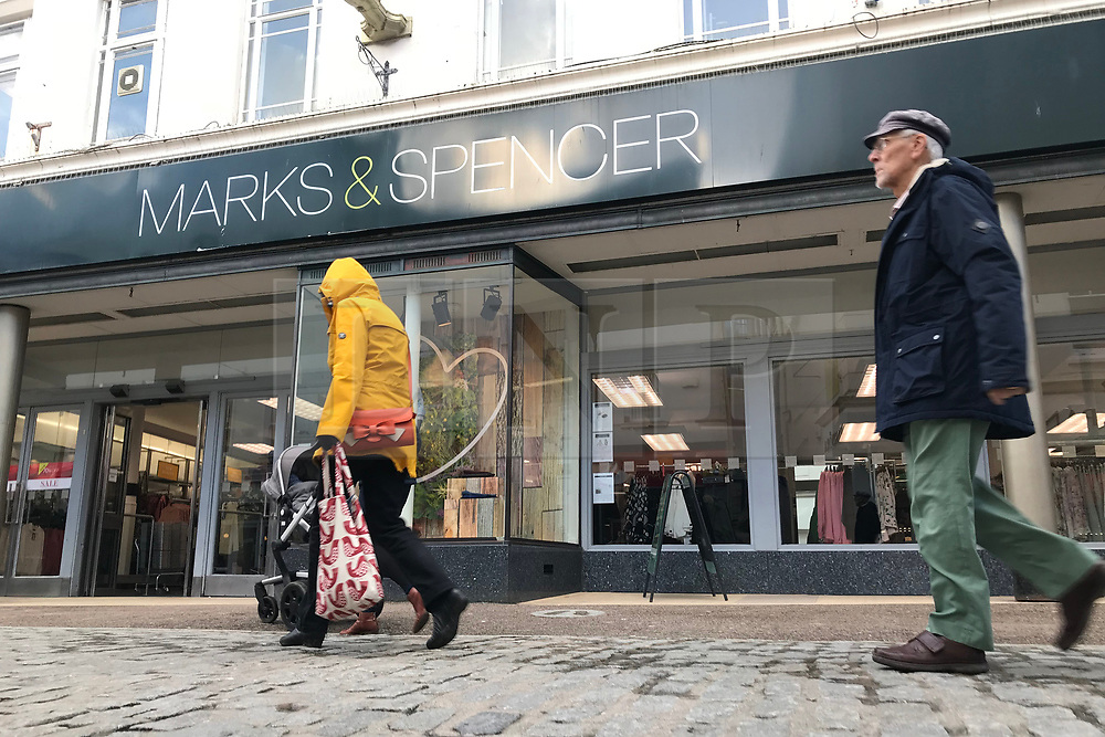 © Licensed to London News Pictures. 31/01/2018. FALMOUTH, CORNWALL, UK.  500 jobs are at risk as Marks and Spencer announces 8 potential store closures which includes the store at Falmouth.  Photo credit: MARK HEMSWORTH/LNP