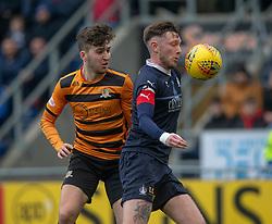 Alloa Athletic's Dario Zanatta an dFalkirk's Jordan McGhee. half time ; Falkirk 0 v 1 Alloa Athletic, Scottish Championship game played 6/4/2019 at The Falkirk Stadium.