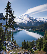 Iceberg Lake (4800 feet elevation), in Mount Baker Wilderness on the Chain Lakes Loop trail. Mount Baker (summit 10,781 feet), Mount Baker-Snoqualmie National Forest, Washington.