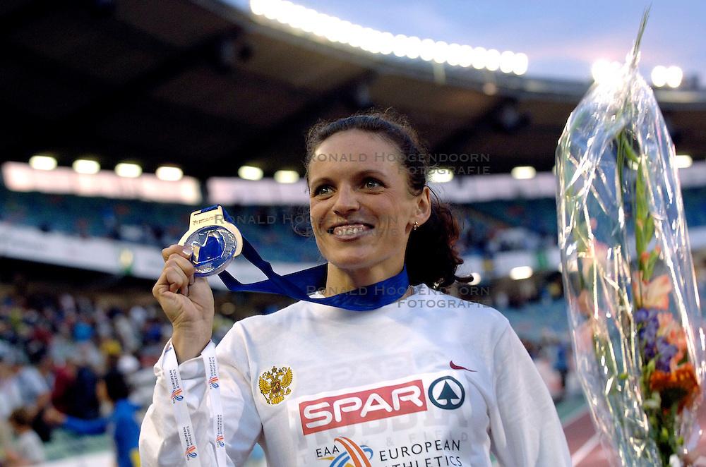 09-08-2006 ATLETIEK: EUROPEES KAMPIOENSSCHAP: GOTHENBORG <br /> Goud voor de Russische Isakova, Yevgeniya met een persoonlijk record van 53.93 op de 400 meter horden<br /> ©2006-WWW.FOTOHOOGENDOORN.NL