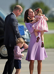 The Duke and Duchess of Cambridge, with their children Prince George and Princess Charlotte, depart from Hamburg Airport on the last day of their three-day tour of Germany.