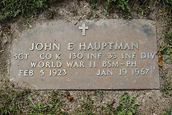 31 August 2017:   Veterans graves in Park Hill Cemetery in eastern McLean County.<br /> <br /> John E Hauptman  Sergeant Co K  130 INF  33 INF DIV  World War II  Bronze Star Medal Purple Heart  Feb 5 1923  Jan 19 1967