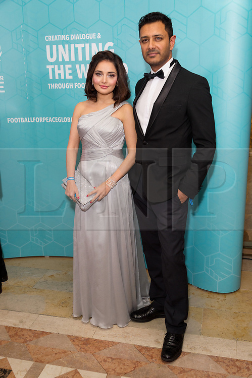 © Licensed to London News Pictures. 17/11/2017.  London, UK. ARMEENA KHAN and FESL KHAN attend the Football For Peace Inaugural Ball held at Guildhall. Photo credit: Ray Tang/LNP