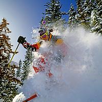 SKIING, Montana, Sinuhe Shrecengost (MR) poweder skiing.