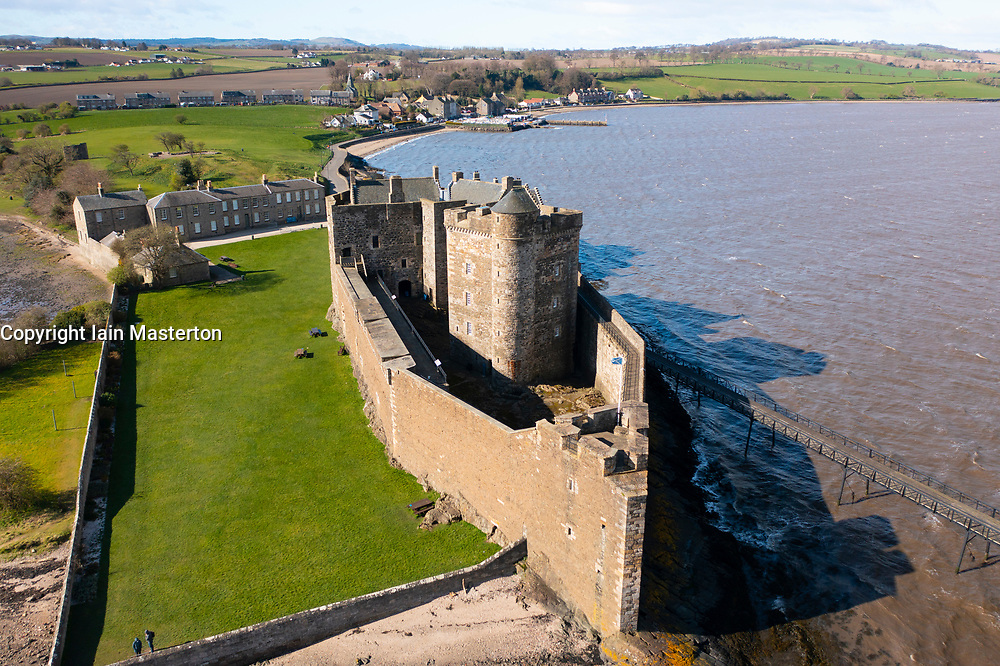 Aerial view from drone of Blackness Castle on Firth of Forth in Scotland, UK