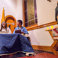 """121313       Cable Hoover<br /> <br /> Janae Wilson, left, and Buddy Joe reenact the writing of the poem """"The Night Before Christmas"""" during a performance of the play """"A Visit From St. Nicholas"""" Friday in St. Michaels."""