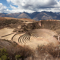 View over the ancient circular terraces of Moray. The agricultural terraces were once used by the Incas.