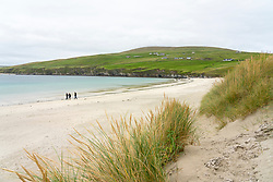 View of Spiggie Beach also called Scousburgh Sands in Dunrossness, Shetland, Scotland, UK