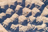 Aerial view of a man walking on sand, Lihula Parish, Pärnu County, Estonia
