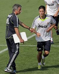 19.08.2010, Trainingszentrum, Madrid, ESP, Primera Division, Real Madrid Training, im Bild Real Madrid's coach Jose Mourinho (l) and  Mesu Ozil, EXPA Pictures © 2010, PhotoCredit: EXPA/ Alterphotos/ Acero / SPORTIDA PHOTO AGENCY