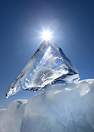 A beautifully clear pyramid-shaped piece of ice from Lake Superior.  Grand Island, Michigan's Upper Peninsula
