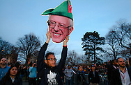 A supporter of Democratic presidential candidate Bernie Sanders, holds a Bernie portrait at a rally in the South Bronx. New York will hold it's presidential primary on April 19th.