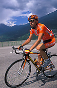 Euskatel's Inigo Landaluze at the start of the climb of the Col du Télégraphe on Wednesday 13th July 2005.