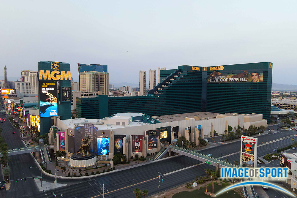 General overall aerial view of the MGM Grand Las Vegas Hotel and Casino, Monday, Sept. 14, 2020, in Las Vegas. (Dylan Stewart/Image of Sport)