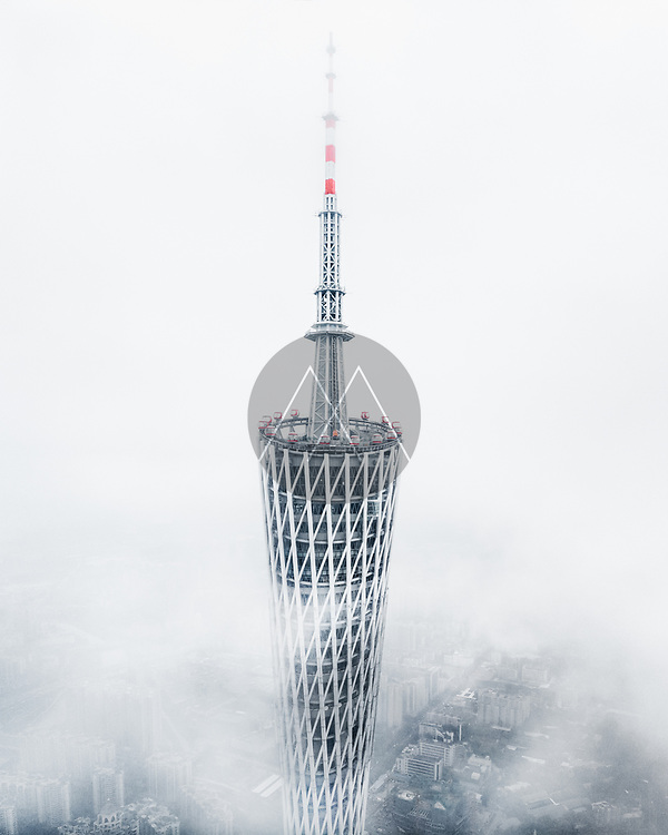 Aerial view of Canton tower, Guangzhou, China