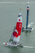SailGP Team Japan helmed by Nathan Outteridge and team USA helmed by Rome Kirby in race one of practice. Event 4 Season 1 SailGP event in Cowes, Isle of Wight, England, United Kingdom. 8 August 2019: Photo Chris Cameron for SailGP. Handout image supplied by SailGP