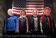 The faces of U.S. presidential candidates are placed on the bodies of mannequins in a store front window at a shopping center in West Des Moines, Iowa, United States, February 1, 2016.   REUTERS/Jim Young