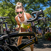 August 23, 2016, New Haven, Connecticut: <br /> Eugenie Bouchard of Canada autographs a spin bike at the the Yale New Haven Health booth during Day 5 of the 2016 Connecticut Open at the Yale University Tennis Center on Tuesday, August  23, 2016 in New Haven, Connecticut. <br /> (Photo by Billie Weiss/Connecticut Open)