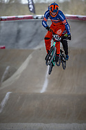 #243 (KIMMANN Justin) NED at Round 2 of the 2018 UCI BMX Superscross World Cup in Saint-Quentin-En-Yvelines, France.