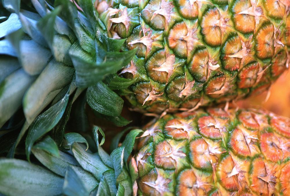 Close up photo of a couple Hawaiian Pineapples