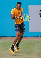 Tennis - 2019 Queen's Club Fever-Tree Championships - Day Six, Saturday<br /> <br /> Men's Singles, Semi Final: Felix Auger-Aliassime (CAN) Vs. Feliciano Lopez (ESP)<br /> <br /> Felix Auger-Aliassime (CAN) on Centre Court.<br />  <br /> COLORSPORT/DANIEL BEARHAM
