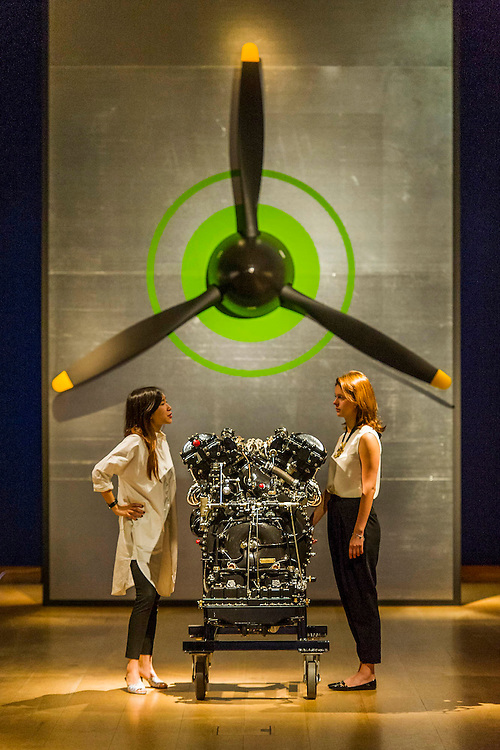 Spitfire Engine and Propeller with curators Bianca Chu and Alina Brezhneva (R) - Christie's Curates: PAST PERFECT / FUTURE PRESENT. A celebration of creativity which launches the summer season, this exhibition showcases a dynamic 'juxtaposition' of art from across the ages alongside innovative and new media works by four emerging artists: James Balmforth, Armand Boua, Olga Chernysheva and Harry Sanderson. This year's curators Alina Brezhneva, Bianca Chu, Milo Dickinson and Tancredi Massimo di Roccasecca 'drive the exhibition in to a bold new chapter'. Highlights: the black felt bicorne hat, once belonging to the Emperor Napoleon and worn by him during the whole Campaign of 1807, in the Battle of Eylau and Friedland, and at the Treaty of Tilsit; the Merlin III engine from an authentic and immaculately restored Vickers Supermarine Spitfire Mk.1A – P9374/G-MK1A. This is a truly iconic aircraft which is symbol of the bravery 'of the few' in the Battle of Britain; and the first opportunity to view Chris Ofili's The Holy Virgin Mary (1996) in London - first exhibited at the generation-defining exhibition 'Sensation' in London and New York, The Holy Virgin Mary was a focal point for the widespread attention the exhibition received throughout the international media landscape, and dates from a moment that saw Ofili propelled to international fame. The works will be on view to the public from 12-16 June at Christie's King Street,