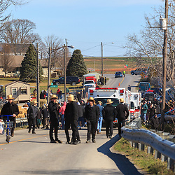 Gordonville, PA, USA - March 10, 2012: The main road at the annual mud sale is closed for foot traffic.