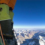 A climber ascends the famed Second Step on Everest's Northeast Ridge on May 30, 2003.