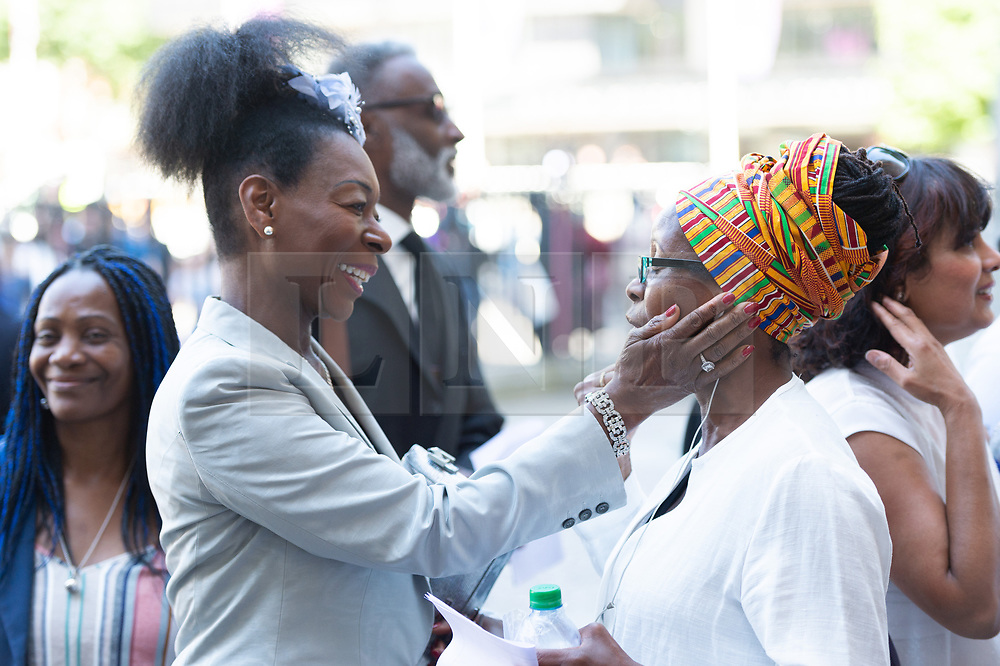 © Licensed to London News Pictures. 22/06/2018. London, UK. BARONESS FLOELLA BENJAMIN IIattends a service of Thanksgiving at Westminster Abbey to mark the 70th Anniversary of the Landing of the Windrush. The MV Windrush ship docked at Tilbury in the Port of London on 22nd June 1948 and  was carrying 492 passengers from the port of Kingston in Jamaica. Photo credit: Ray Tang/LNP