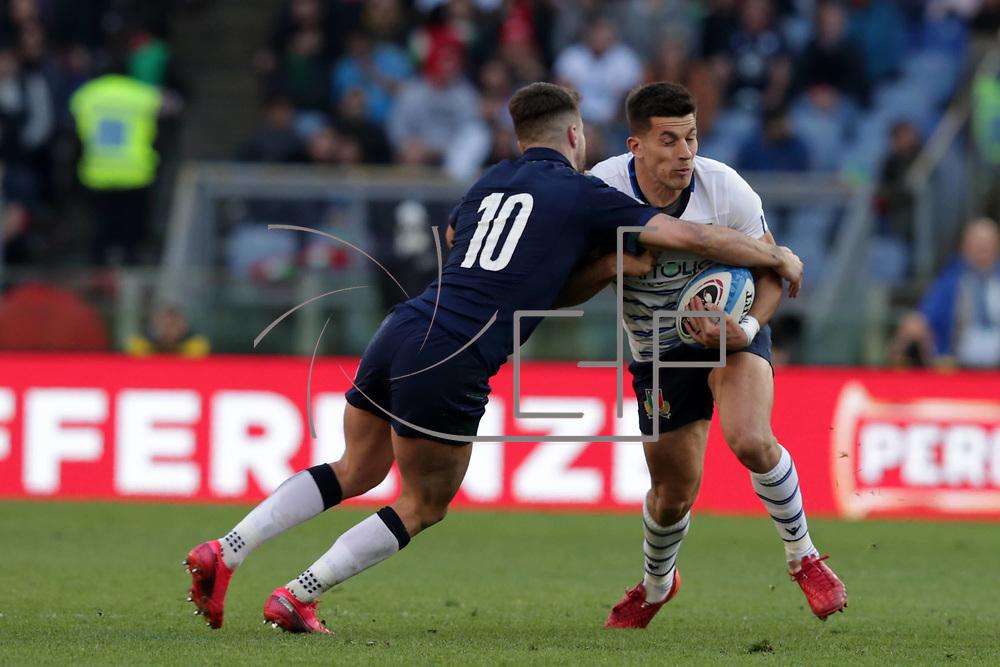 Roma 22/02/2020 Stadio Olimpico<br /> Guinness 6 nations 2020 : Italia vs Scozia<br /> Tommaso Allan placcato da Adam Hastings