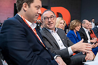 06 DEC 2019, BERLIN/GERMANY:<br /> Lars Klingbeil (L), SPD Generalsekretaer, und Norbert Walter-Borjans (R), SPD, Minister a.D., Kandidat fur das Amt des Parteivorsitzenden, im Gespraech, SPD Bundesprateitag, CityCube<br /> IMAGE: 20191206-01-021<br /> KEYYWORDS: Party Congress, Parteitag