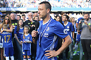 Chelsea Captain John Terry addresses the crowd after his final game for the club. Premier league match, Chelsea v Sunderland at Stamford Bridge in London on Sunday 21st May 2017.<br /> pic by Steffan Bowen,  Andrew Orchard sports photography.