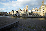 Buildings along the river, Leie River, Graslei, Ghent, Belgium